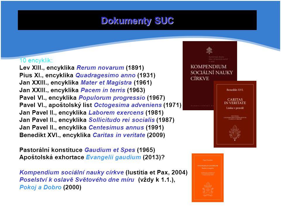 Dokumenty SUC 10 encyklik: Lev XIII., encyklika Rerum novarum (1891) Pius XI., encyklika Quadragesimo anno (1931) Jan XXIII., encyklika Mater et Magis