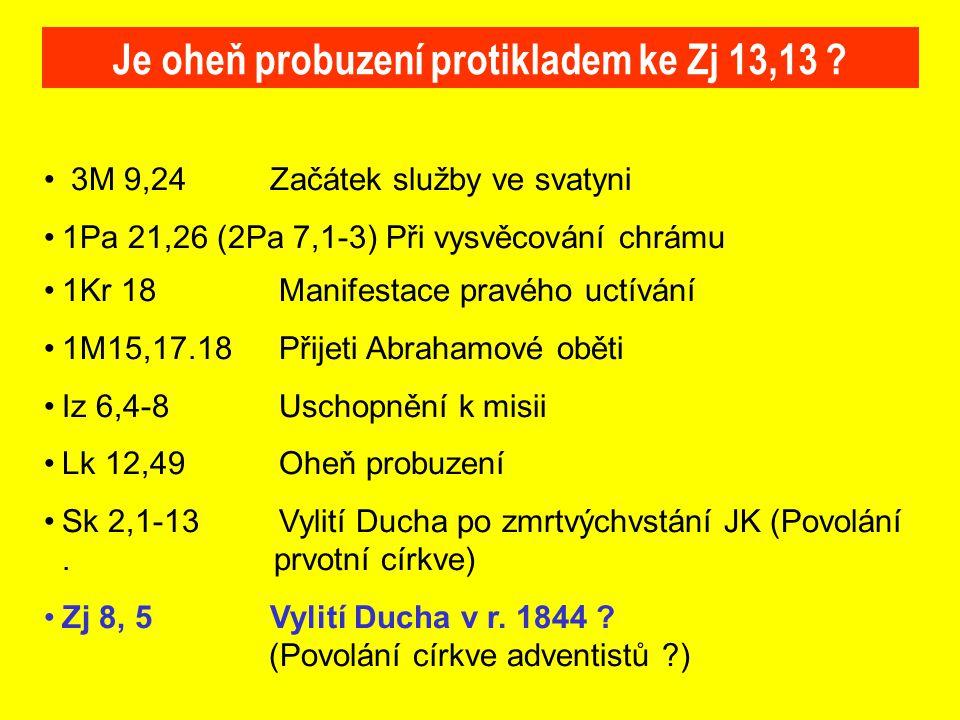 3M 9,24Začátek služby ve svatyni 1Pa 21,26 (2Pa 7,1-3) Při vysvěcování chrámu 1Kr 18 Manifestace pravého uctívání 1M15,17.18 Přijeti Abrahamové oběti