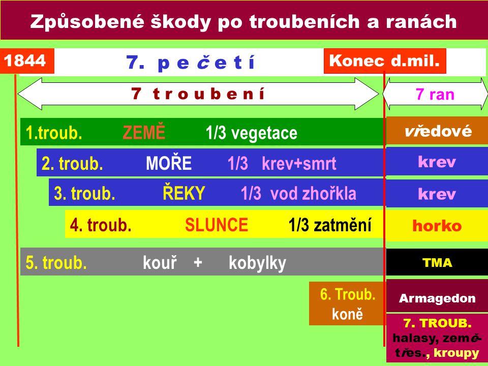 7. p e č e t í 3. troub. ŘEKY 1/3 vod zhořkla 4. troub. SLUNCE 1/3 zatmění 5. troub. kouř + kobylky 6. Troub. koně 2. troub. MOŘE 1/3 krev+smrt 1.trou