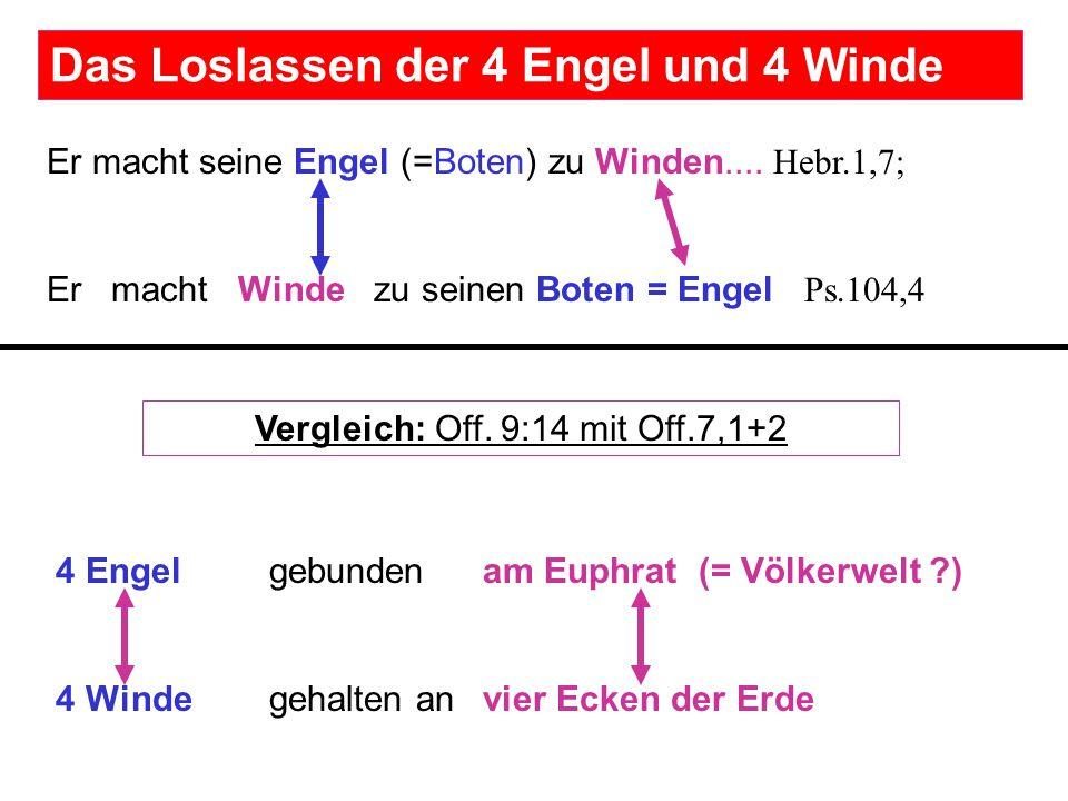 4 Engel gebunden am Euphrat (= Völkerwelt ?) 4 Winde gehalten an vier Ecken der Erde Er macht seine Engel (=Boten) zu Winden.... Hebr.1,7; Er macht Wi