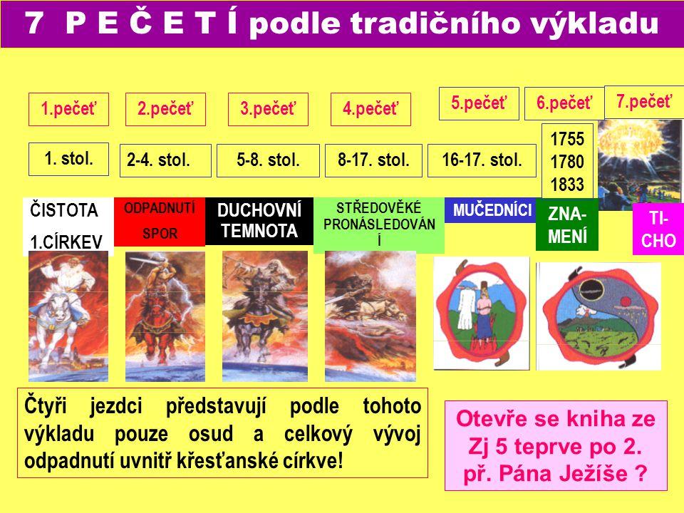 WK- Jesu 7.pečeť TI- CHO 7 P E Č E T Í podle tradičního výkladu ČISTOTA 1.CÍRKEV ODPADNUTÍ SPOR DUCHOVNÍ TEMNOTA STŘEDOVĚKÉ PRONÁSLEDOVÁN Í MUČEDNÍCI
