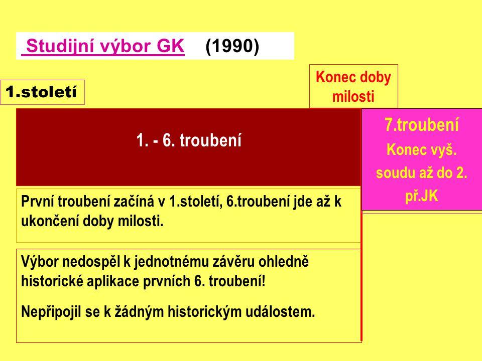 První troubení začíná v 1.století, 6.troubení jde až k ukončení doby milosti. 1. - 6. troubení Studijní výbor GK (1990) 1.století 7 Plagen Konec doby