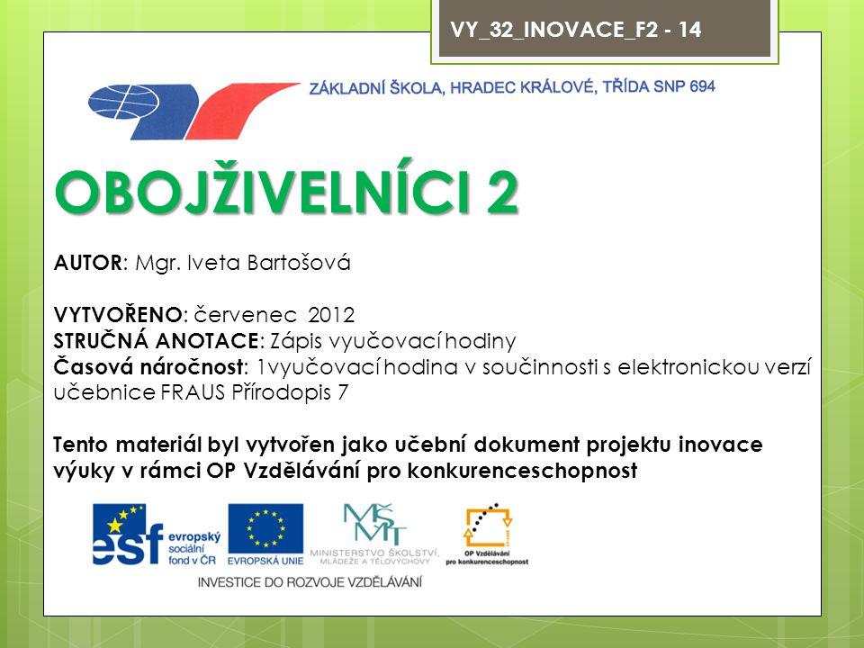 VY_32_INOVACE_F2 - 14 OBOJŽIVELNÍCI 2 AUTOR : Mgr.