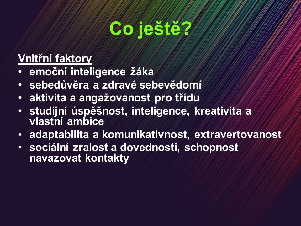 Co ještě? Vnitřní faktory emoční inteligence žáka sebedůvěra a zdravé sebevědomí aktivita a angažovanost pro třídu studijní úspěšnost, inteligence, kr