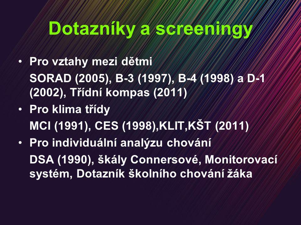 Dotazníky a screeningy Pro vztahy mezi dětmi SORAD (2005), B-3 (1997), B-4 (1998) a D-1 (2002), Třídní kompas (2011) Pro klima třídy MCI (1991), CES (1998),KLIT,KŠT (2011) Pro individuální analýzu chování DSA (1990), škály Connersové, Monitorovací systém, Dotazník školního chování žáka