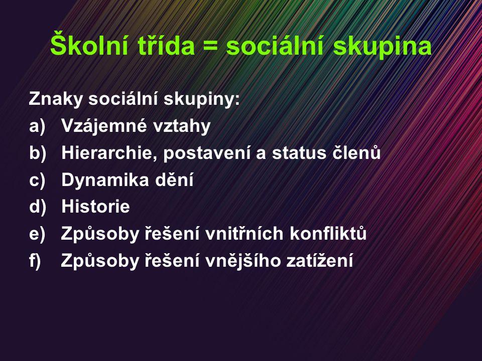 Školní třída = sociální skupina Znaky sociální skupiny: a)Vzájemné vztahy b)Hierarchie, postavení a status členů c)Dynamika dění d)Historie e)Způsoby