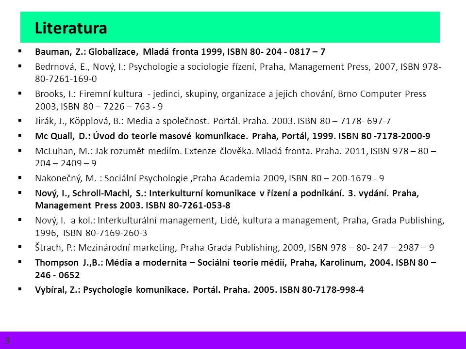 Literatura 3Iva Petrová 3 3  Bauman, Z.: Globalizace, Mladá fronta 1999, ISBN 80- 204 - 0817 – 7  Bedrnová, E., Nový, I.: Psychologie a sociologie ř