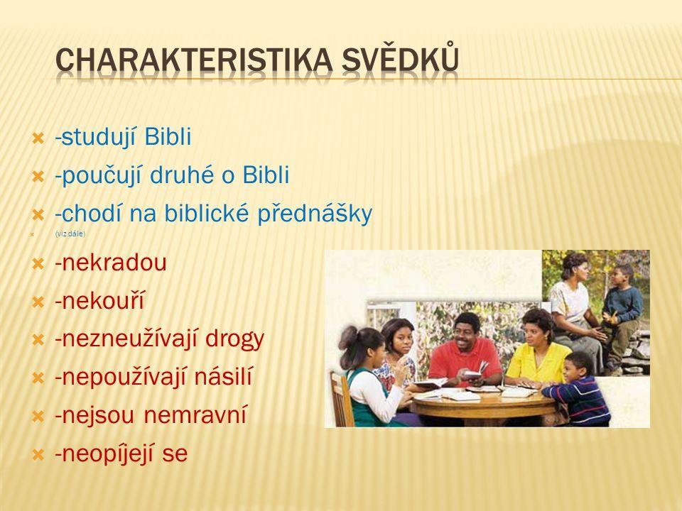  -studují Bibli  -poučují druhé o Bibli  -chodí na biblické přednášky  (viz dále)  -nekradou  -nekouří  -nezneužívají drogy  -nepoužívají nási
