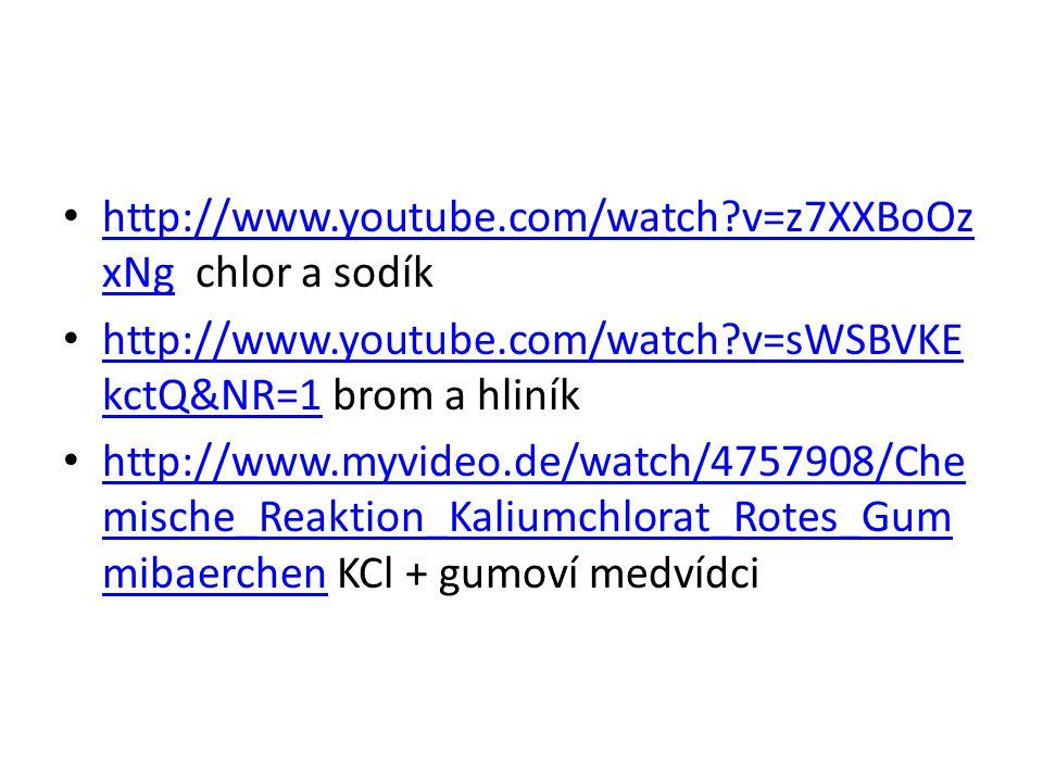 http://www.youtube.com/watch?v=z7XXBoOz xNg chlor a sodík http://www.youtube.com/watch?v=z7XXBoOz xNg http://www.youtube.com/watch?v=sWSBVKE kctQ&NR=1 brom a hliník http://www.youtube.com/watch?v=sWSBVKE kctQ&NR=1 http://www.myvideo.de/watch/4757908/Che mische_Reaktion_Kaliumchlorat_Rotes_Gum mibaerchen KCl + gumoví medvídci http://www.myvideo.de/watch/4757908/Che mische_Reaktion_Kaliumchlorat_Rotes_Gum mibaerchen
