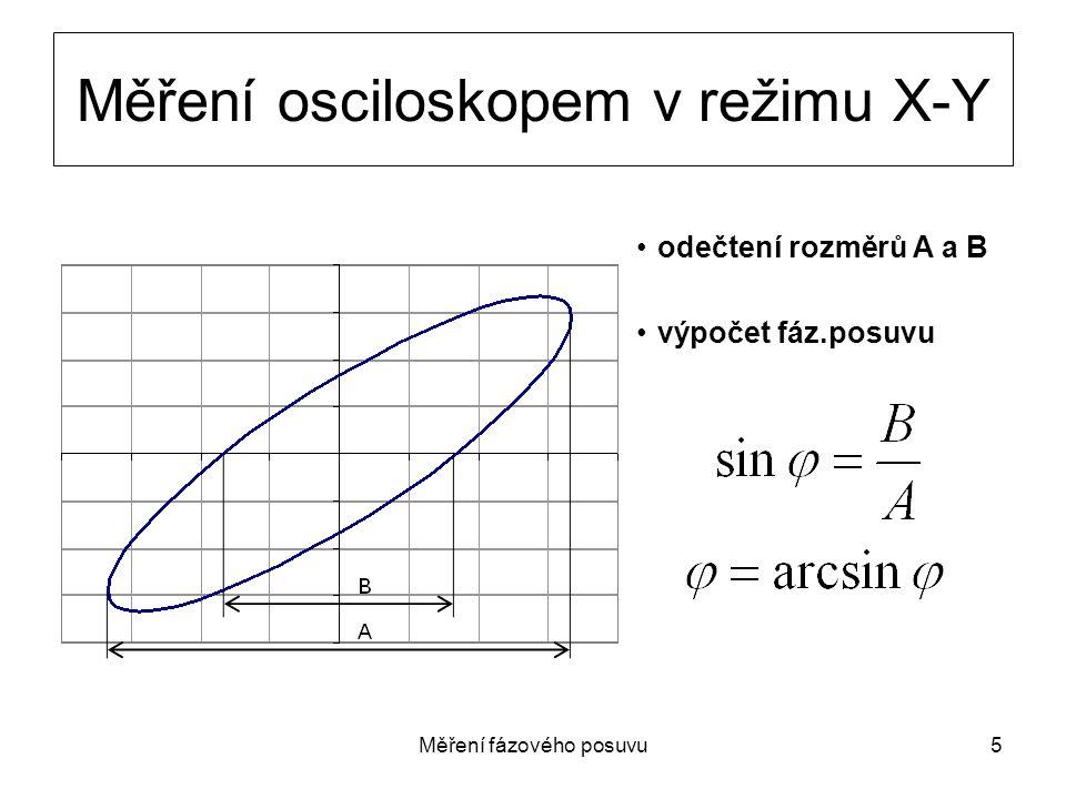 Měření fázového posuvu5 Měření osciloskopem v režimu X-Y odečtení rozměrů A a B výpočet fáz.posuvu