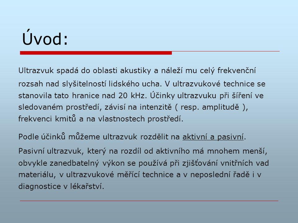 Aktivní ultrazvuk: Pracuje s vyššími intenzitami a výkony.