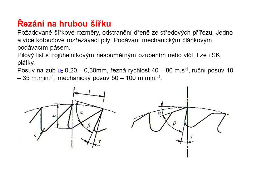 Řezání na hrubou šířku Požadované šířkové rozměry, odstranění dřeně ze středových přířezů. Jedno a více kotoučové rozřezávací pily. Podávání mechanick