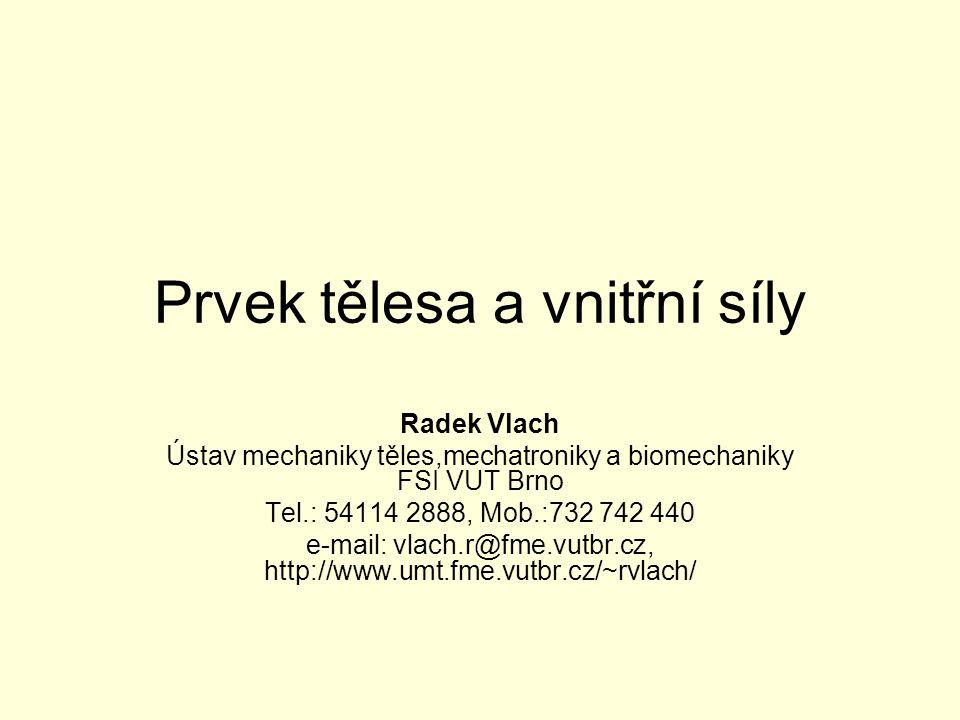 Prvek tělesa a vnitřní síly Radek Vlach Ústav mechaniky těles,mechatroniky a biomechaniky FSI VUT Brno Tel.: 54114 2888, Mob.:732 742 440 e-mail: vlach.r@fme.vutbr.cz, http://www.umt.fme.vutbr.cz/~rvlach/
