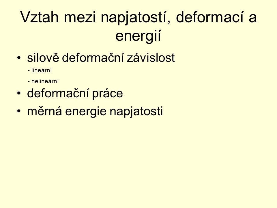 Vztah mezi napjatostí, deformací a energií silově deformační závislost deformační práce měrná energie napjatosti - lineární - nelineární