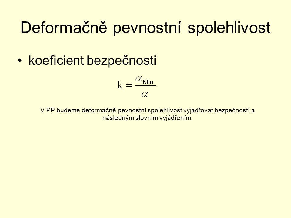 Deformačně pevnostní spolehlivost koeficient bezpečnosti V PP budeme deformačně pevnostní spolehlivost vyjadřovat bezpečností a následným slovním vyjádřením.
