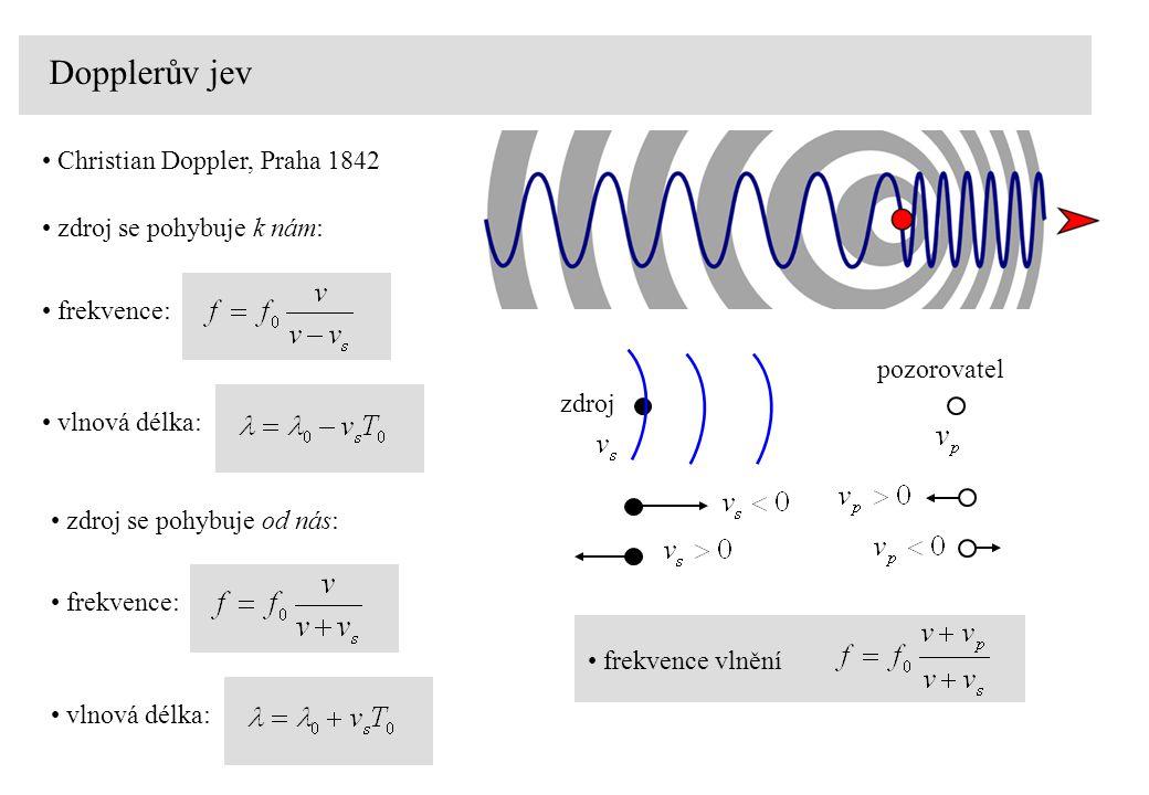 Dopplerův jev zdroj pozorovatel frekvence vlnění zdroj se pohybuje ke stojícímu pozorovateli rychlostí zvuku zdroj se pohybuje od stojícího pozorovatele rychlostí zvuku zdroj se pohybuje ke stojícímu pozorovateli rychlostí převyšující rychlost zvuku