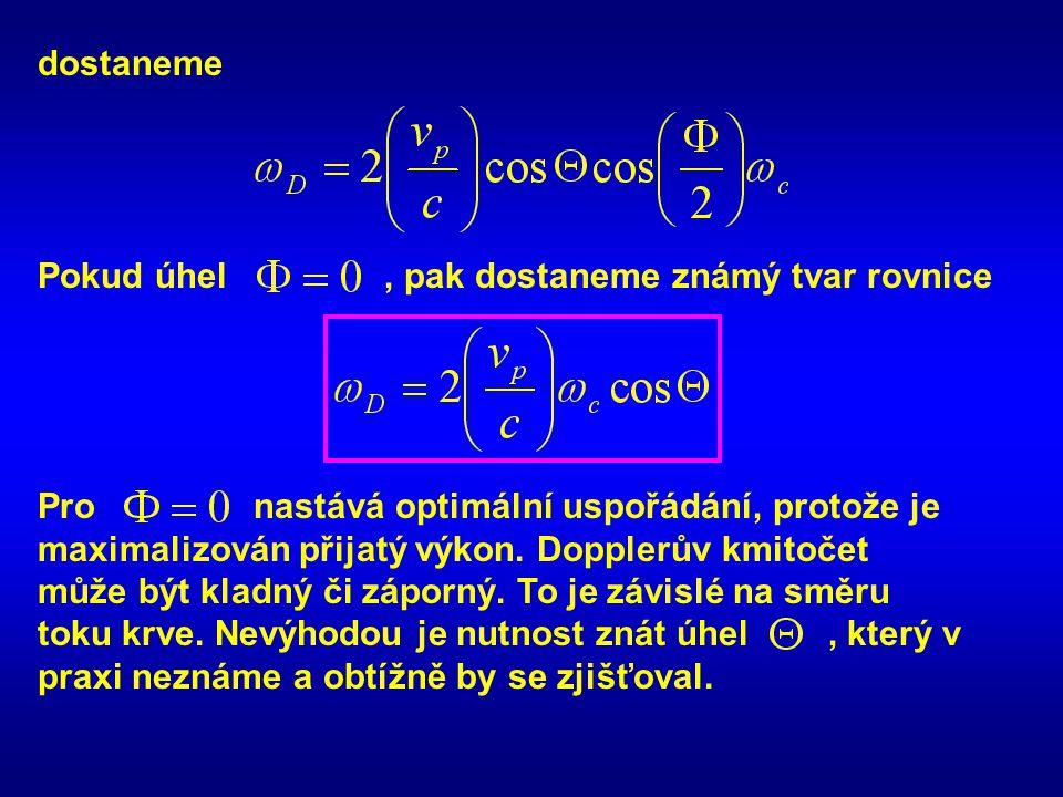 dostaneme Pokud úhel, pak dostaneme známý tvar rovnice Pro nastává optimální uspořádání, protože je maximalizován přijatý výkon.