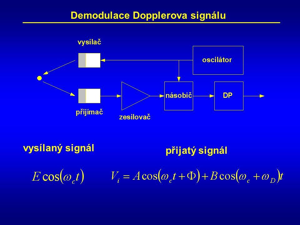 přijatý signál vysílaný signál Demodulace Dopplerova signálu