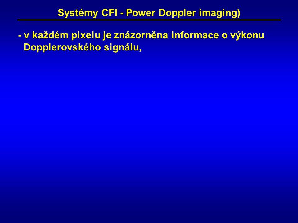 Systémy CFI - Power Doppler imaging) - v každém pixelu je znázorněna informace o výkonu Dopplerovského signálu,