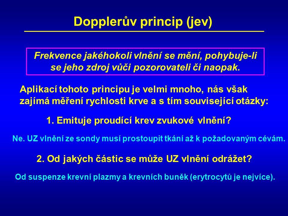 Pro vysílanou frekvenci 5 MHz a frekvenci Dopplerova signálu 5,8 kHz musíme odlišit kladný směr toku krve, tj.