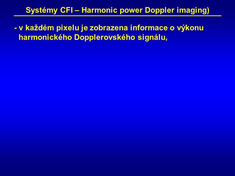 Systémy CFI – Harmonic power Doppler imaging) - v každém pixelu je zobrazena informace o výkonu harmonického Dopplerovského signálu,