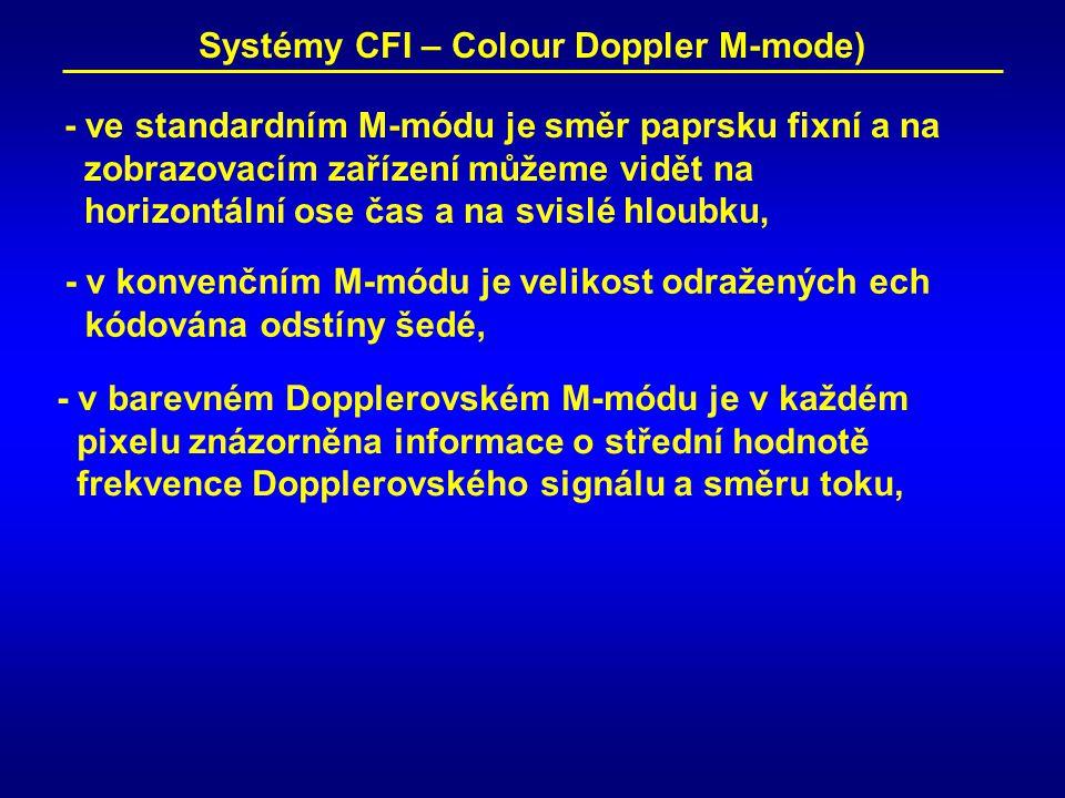 Systémy CFI – Colour Doppler M-mode) - ve standardním M-módu je směr paprsku fixní a na zobrazovacím zařízení můžeme vidět na horizontální ose čas a na svislé hloubku, - v konvenčním M-módu je velikost odražených ech kódována odstíny šedé, - v barevném Dopplerovském M-módu je v každém pixelu znázorněna informace o střední hodnotě frekvence Dopplerovského signálu a směru toku,