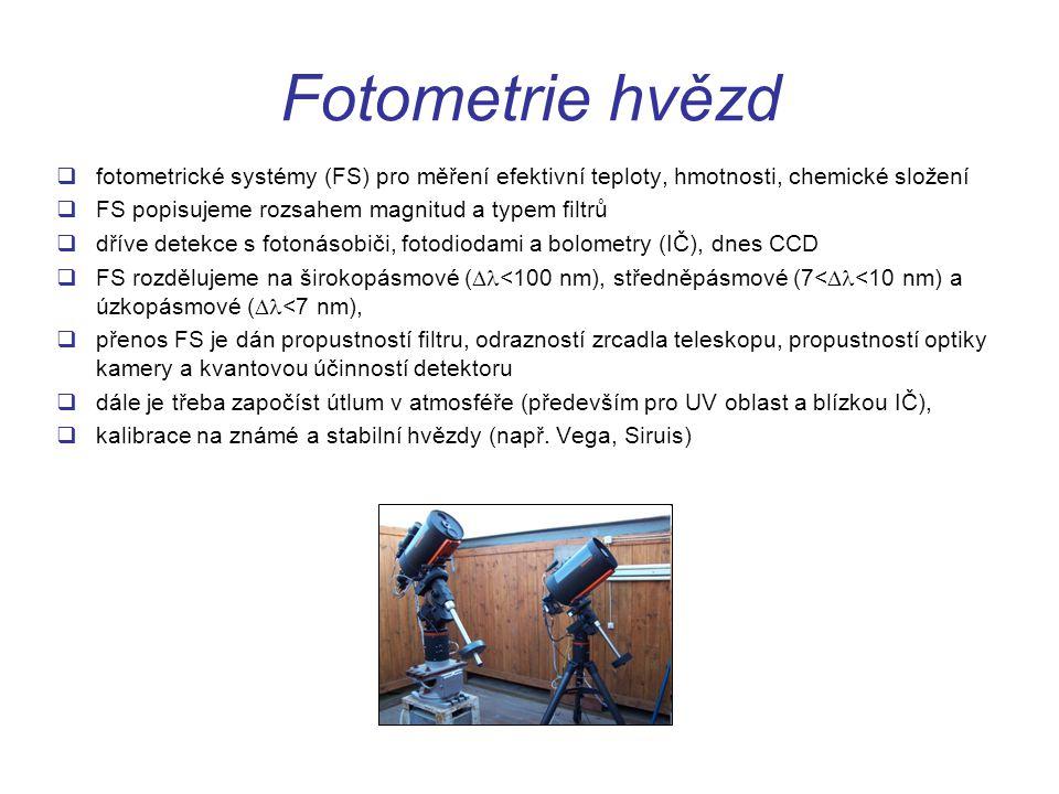 Fotometrie hvězd  fotometrické systémy (FS) pro měření efektivní teploty, hmotnosti, chemické složení  FS popisujeme rozsahem magnitud a typem filtr