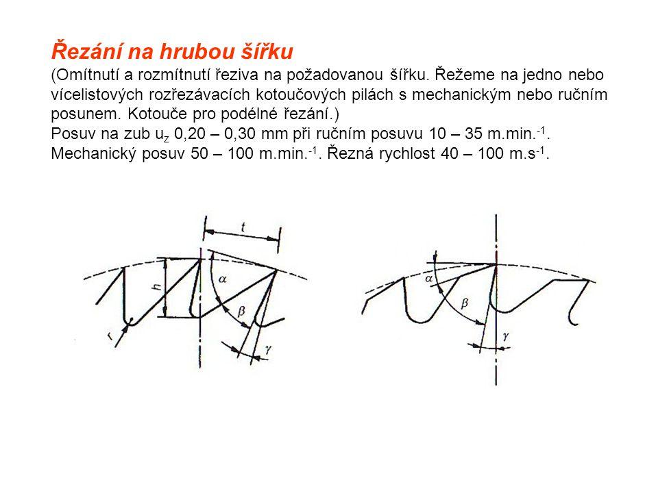 Řezání na hrubou šířku (Omítnutí a rozmítnutí řeziva na požadovanou šířku. Řežeme na jedno nebo vícelistových rozřezávacích kotoučových pilách s mecha