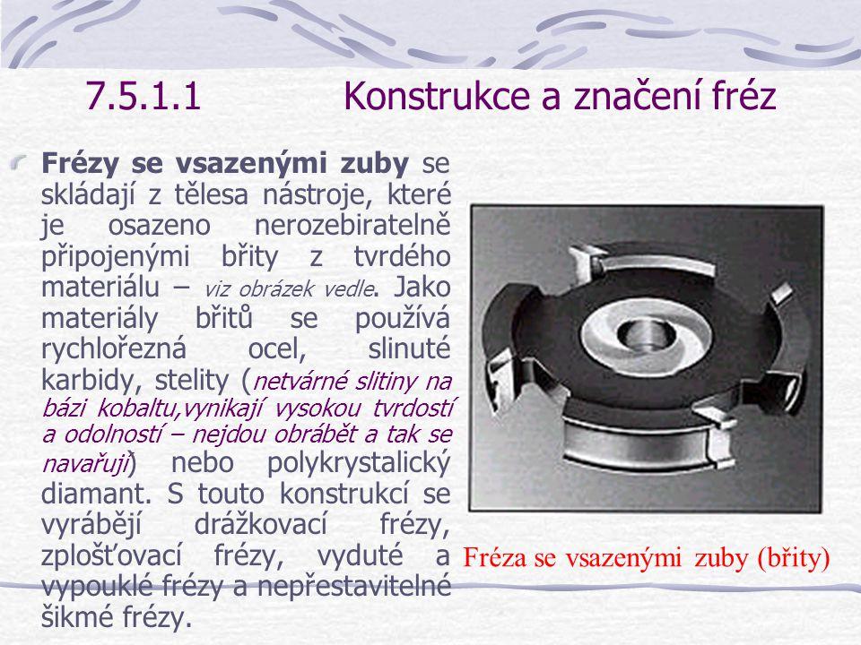 7.5.1.1Konstrukce a značení fréz U celistvých fréz je těleso opatření upínacím otvorem a břity nástroje z jednoho materiálu – viz obrázek vedle.