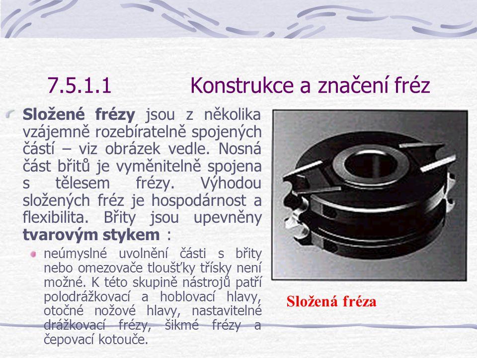 7.5.1.1Konstrukce a značení fréz Frézy se vsazenými zuby se skládají z tělesa nástroje, které je osazeno nerozebiratelně připojenými břity z tvrdého materiálu – viz obrázek vedle.