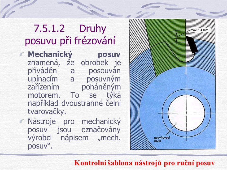7.5.1.2Druhy posuvu při frézování Dále musí být upevnění břitů pevné nebo tvarovým stykem.