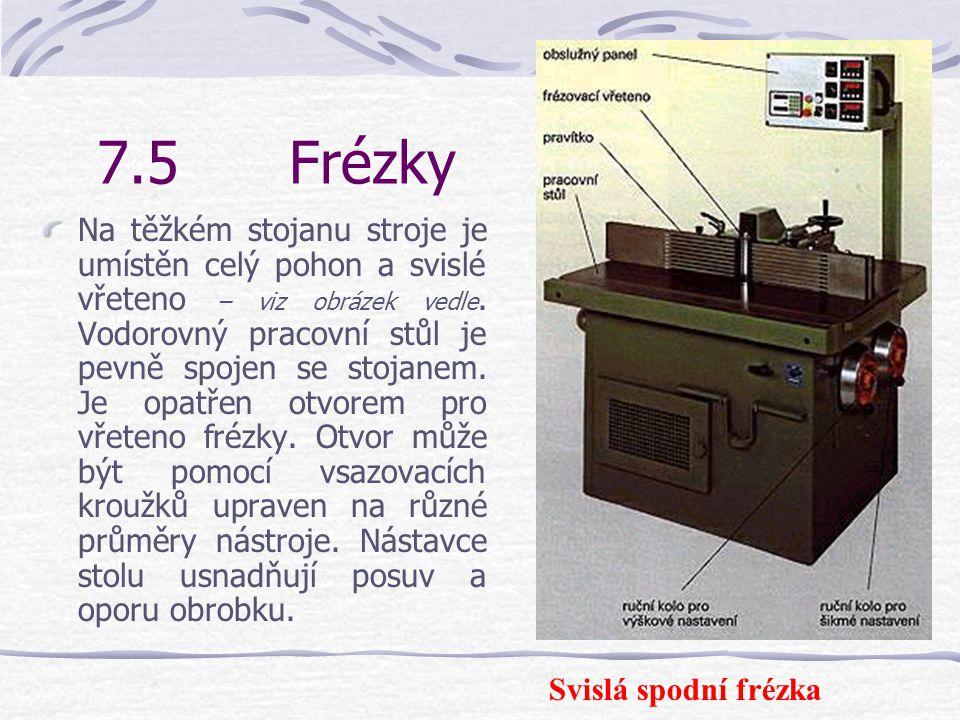 7.5Frézky Frézky slouží k výrobě drážek, žlábků a profilů i pro zhotovování dřevěných spojů.