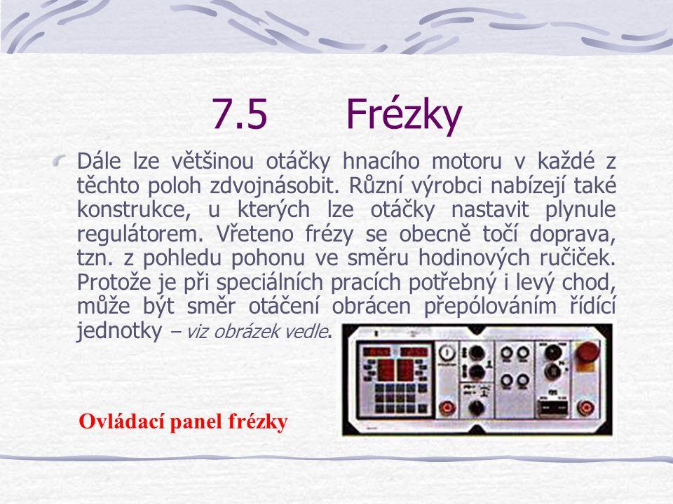 7.5Frézky Kvůli rozmanitosti používaných fréz musí být možno upravovat otáčky.