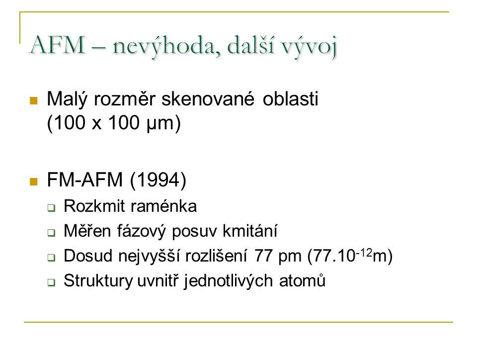 Malý rozměr skenované oblasti (100 x 100 µm) FM-AFM (1994)  Rozkmit raménka  Měřen fázový posuv kmitání  Dosud nejvyšší rozlišení 77 pm (77.10 -12