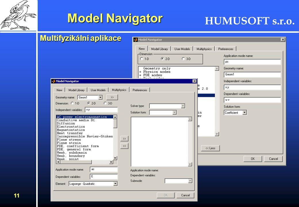 HUMUSOFT s.r.o. 10 FEMLAB - koncepce - femsim Workspace Model v Simulinku FEMLAB - aplikační módy - PDR - CAD nástroje - okrajové podm. - generování s