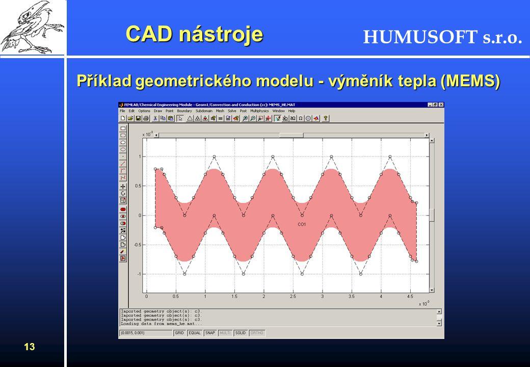 HUMUSOFT s.r.o. 12 CAD nástroje –2D primitiva –Booleovské operace –import DXF, M-soubor –export DXF, MAT