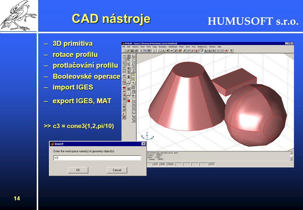 HUMUSOFT s.r.o. 13 CAD nástroje Příklad geometrického modelu - výměník tepla (MEMS)