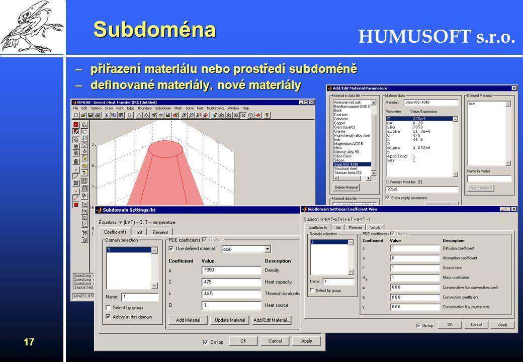 HUMUSOFT s.r.o. 16 Okrajové podmínky Okrajové podmínky –Body (2D, 3D) –hrany (2D, 3D) –plochy (3D) –Dirichletova okrajová podmínka (hodnota) –Neumanno