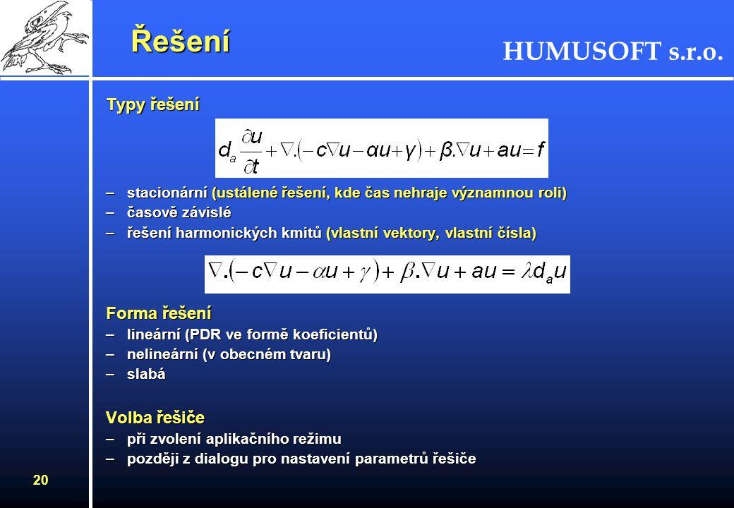 HUMUSOFT s.r.o. 19 Generování sítě Generování sítě Hodnocení kvality sítě Hodnocení kvality sítě –histogram –statistika –zobrazení kvality