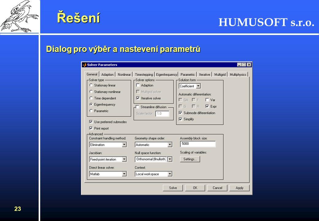 HUMUSOFT s.r.o. 22 Řešení Řešení Stupně volnosti ve FEMLABu (DOF) –nároky na výpočetní čas a paměť počítače –ve většině aplikací se závisle proměnná p