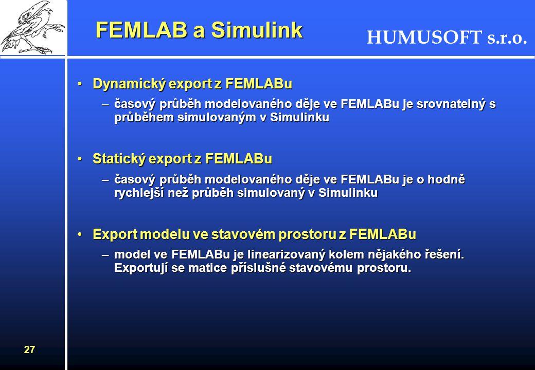 HUMUSOFT s.r.o. 26 FEMLAB a Simulink FEMLAB a Simulink Simulink - nadstavba MATLABu pro simulaci dynamických systémůSimulink - nadstavba MATLABu pro s