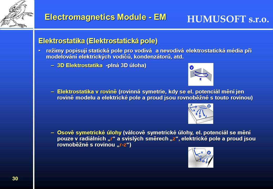 HUMUSOFT s.r.o. 29 Electromagnetics Module - EM Jaké úlohy řeší Elekromagnetický Modul ? Ve 2D a 3D –Statické –Časově závislé –Časově harmonické –Vlas