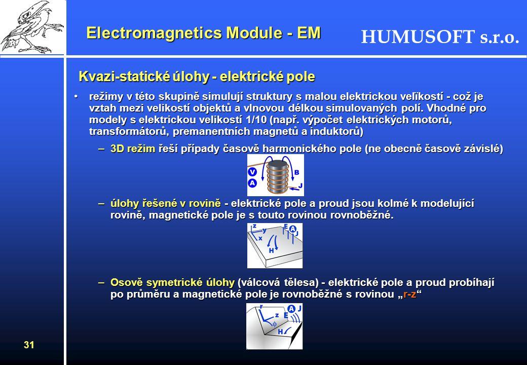HUMUSOFT s.r.o. 30 Elektrostatika (Elektrostatická pole) režimy popisují statická pole pro vodivá a nevodivá elektrostatická média při modelování elek