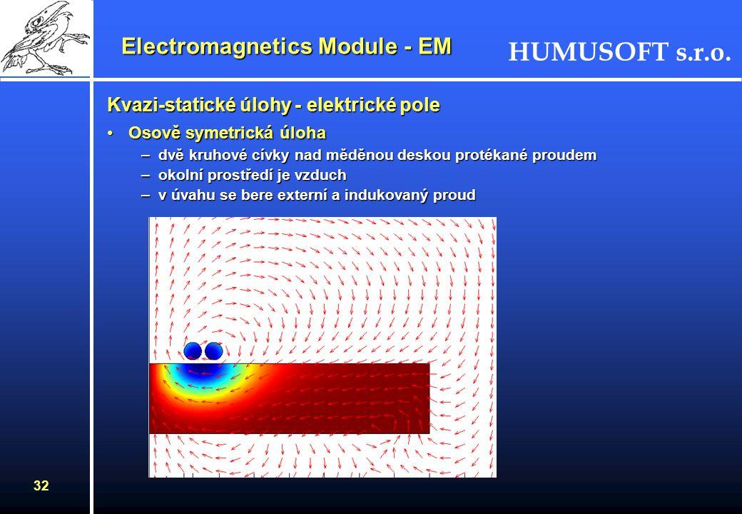 HUMUSOFT s.r.o. 31 Electromagnetics Module - EM Kvazi-statické úlohy - elektrické pole režimy v této skupině simulují struktury s malou elektrickou ve