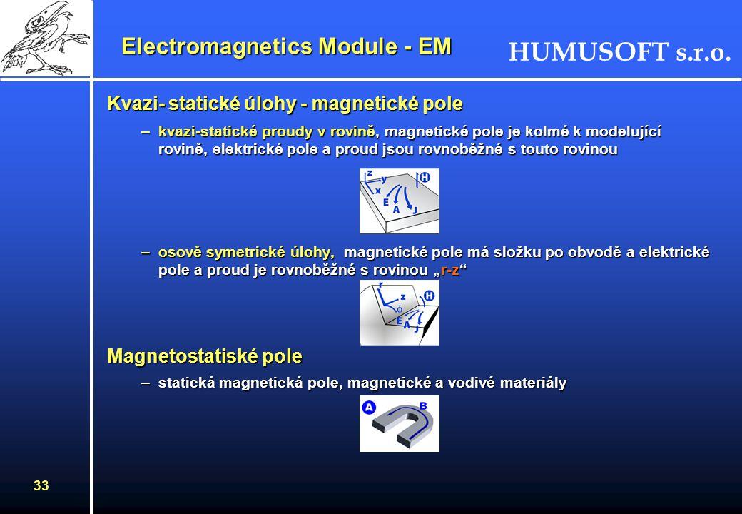 HUMUSOFT s.r.o. 32 Kvazi-statické úlohy - elektrické pole Osově symetrická úlohaOsově symetrická úloha –dvě kruhové cívky nad měděnou deskou protékané