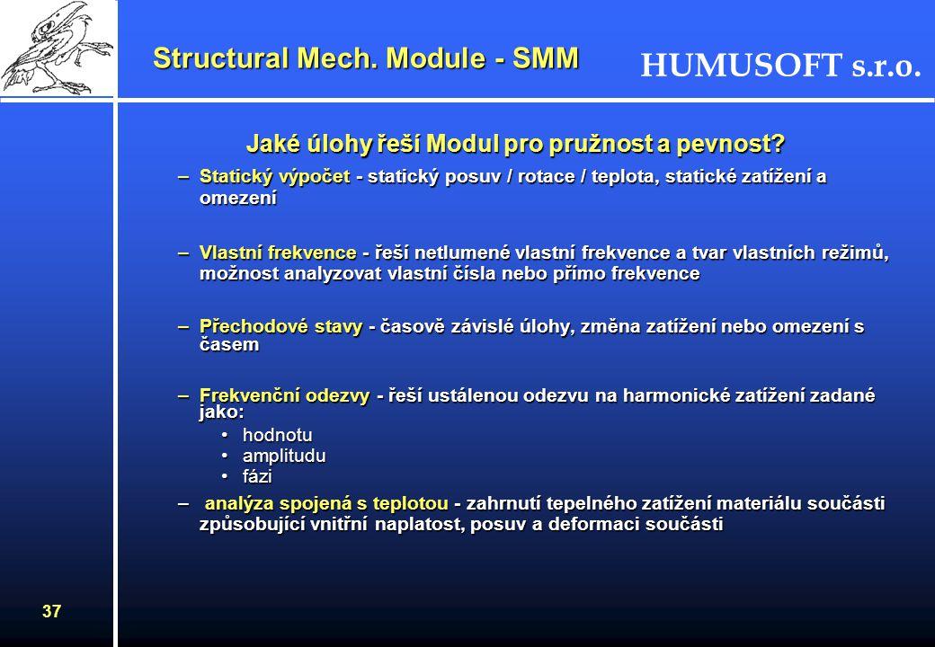 HUMUSOFT s.r.o. 36 Electromagnetics Module - EM Kolmé vlnění - hybridní režimKolmé vlnění - hybridní režim –obecný případ, kde všechny složky pole jso