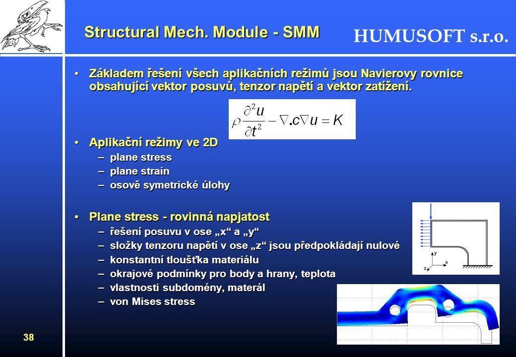 HUMUSOFT s.r.o. 37 Jaké úlohy řeší Modul pro pružnost a pevnost? –Statický výpočet - statický posuv / rotace / teplota, statické zatížení a omezení –V