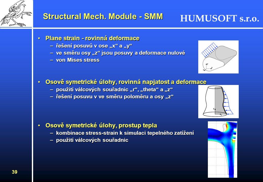 HUMUSOFT s.r.o. 38 Structural Mech. Module - SMM Základem řešení všech aplikačních režimů jsou Navierovy rovnice obsahující vektor posuvů, tenzor napě