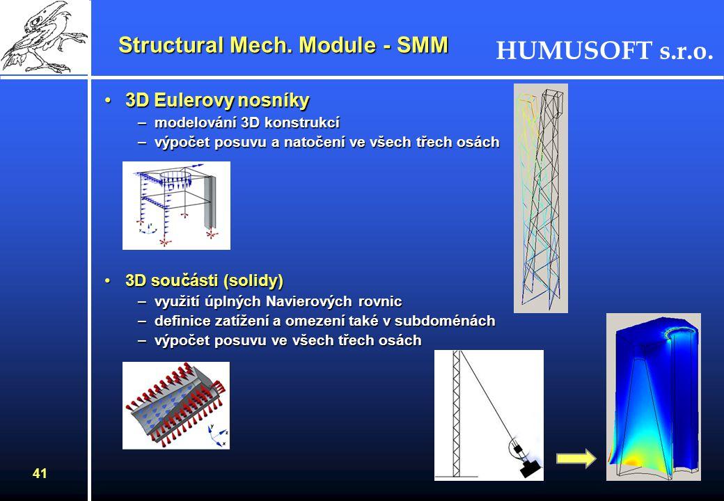 HUMUSOFT s.r.o. 40 DeskyDesky –mindlinovské desky –tenká rovinná konstrukce (hodnota tloušťka < 1/10 šířky) –zatěžující síly směřují kolmo k desce, mo