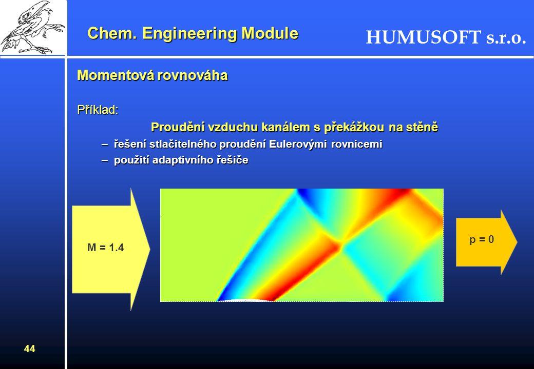 HUMUSOFT s.r.o. 43 Jaké úlohy řeší modul pro chemický průmysl ? Modul obsahuje tři hlavní režimyModul obsahuje tři hlavní režimy –momentová rovnováha